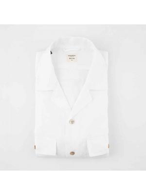 Mazzarelli Camicia Hawaii Lino Bianco