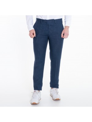 Germano Pantaloni Lino Blu