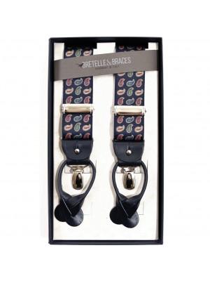 Bretelle & Braces Bretella Blu Stampa Cashmere Small