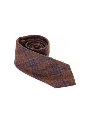 Altea Cravatta Lana Quadri Marrone  7,5 cm
