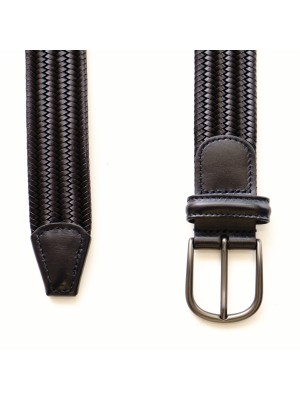 Anderson's Cintura Pelle Elastica Intrecciata Blu