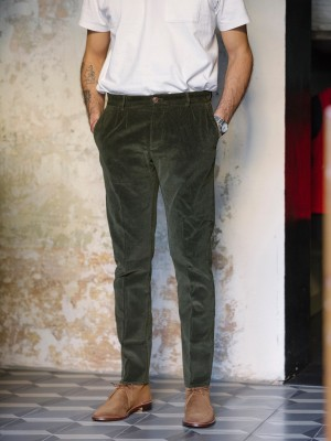 Fortela Pantaloni Pences 17 Velluto Millerighe Verde