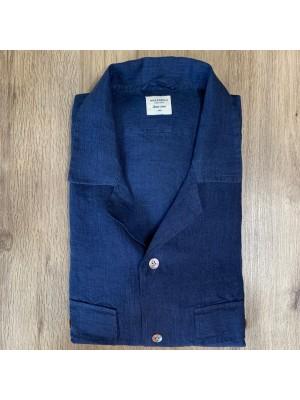 Mazzarelli Camicia Hawaii Lino Blu